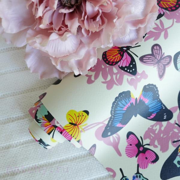 Кожзам разноцветные бабочки на желтом 25х69 см
