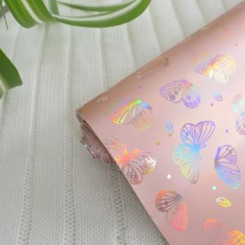 Кожзам блестящие бабочки персик