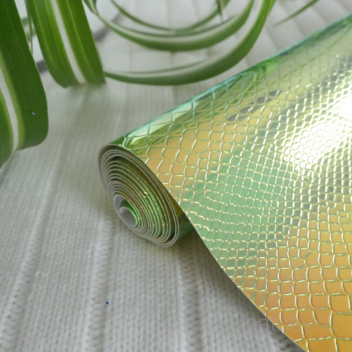 Кожзам ртутный дракон зеленый