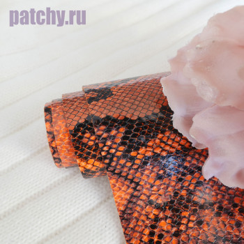 Кожзам рептилия двухцветный оранжевый и черный