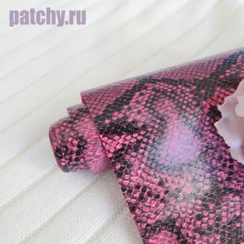 Кожзам рептилия двухцветный розовый и черный