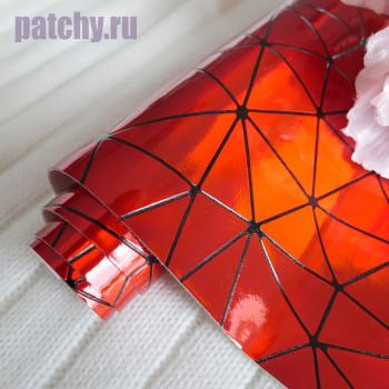 Кожзам геометрия красный 30х58 см