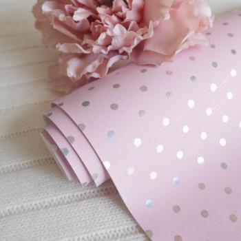 Кожзам горошек розовый