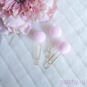 Скрепки с помпоном розовый