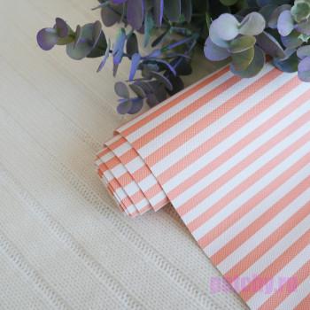 Кожзам в полоску 0,7 см оранжево-белый 0,7см
