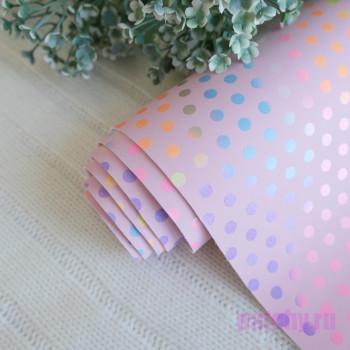 Кожзам разноцветный горошек на розовом