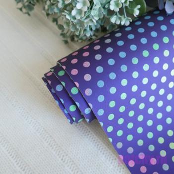 Кожзам разноцветный горошек на фиолетовом
