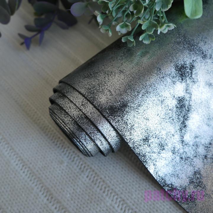 Кожзам морозный узор черный 25 х 70 см