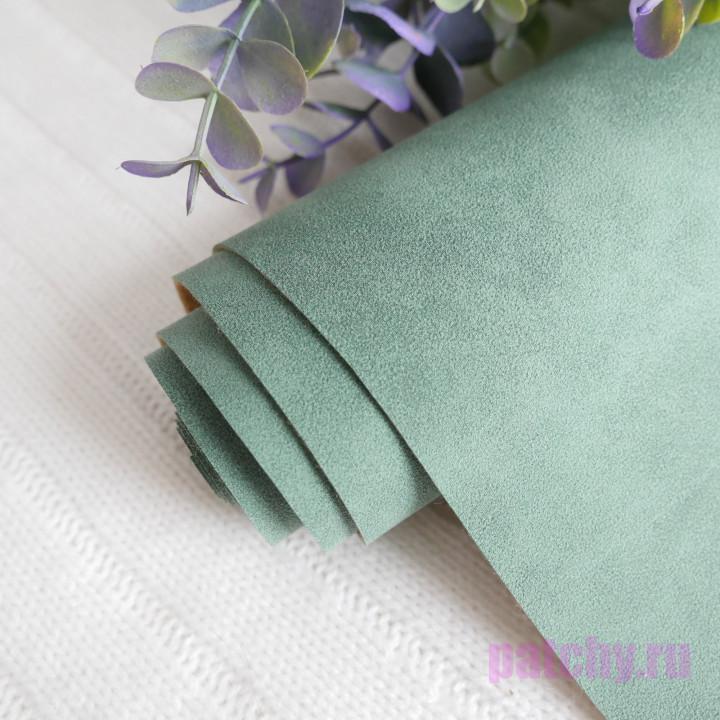 Искусственная замша зеленая 35 х 70 см