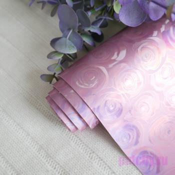Кожзам блестящие розочки розовые 27*140см