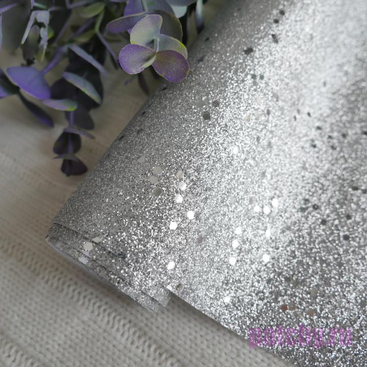 Глиттерная ткань крупная серебро 25 х 70 см