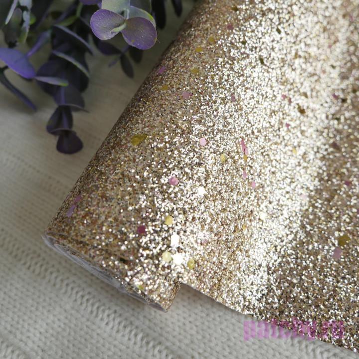Глиттерная ткань крупная золото 35 х 70 см
