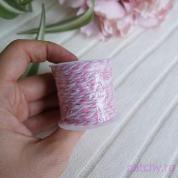 Хлопковый полосатый шнур розовый