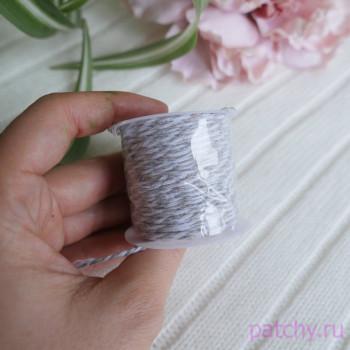 Хлопковый полосатый шнур светло-серый
