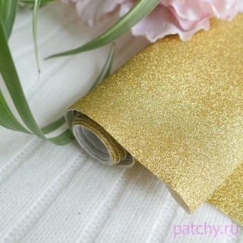 Глиттерная ткань золото 15*140см