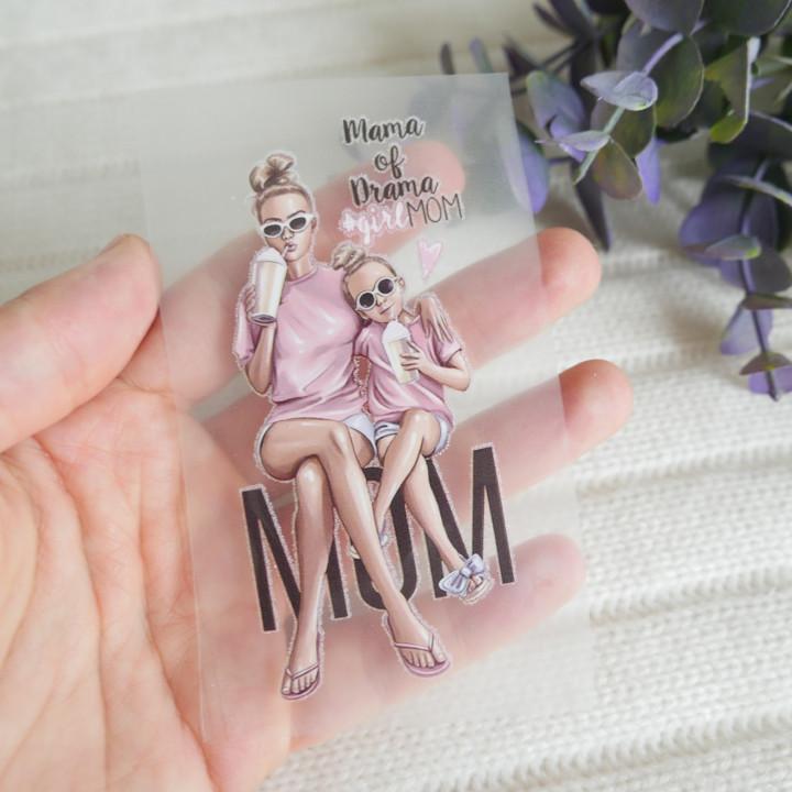 """Термокартинка """"Mama of drama #girl MOM"""" 4,2*9 см"""