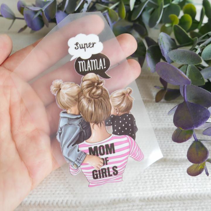 """Термокартинка """"Super mama - Mom of girls"""" 5*9 см"""