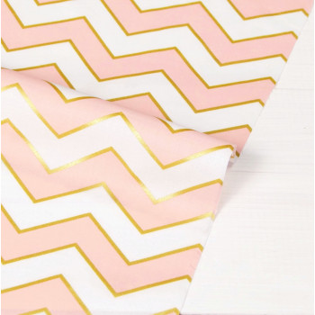 Ткань хлопок Blush Chic Chevron Pearlized (Розовый)