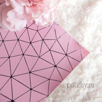 Кожзам геометрия розовый