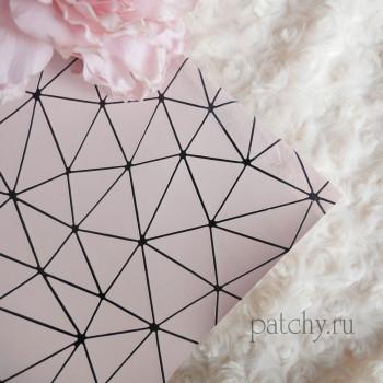 Кожзам геометрия нежно-розовый