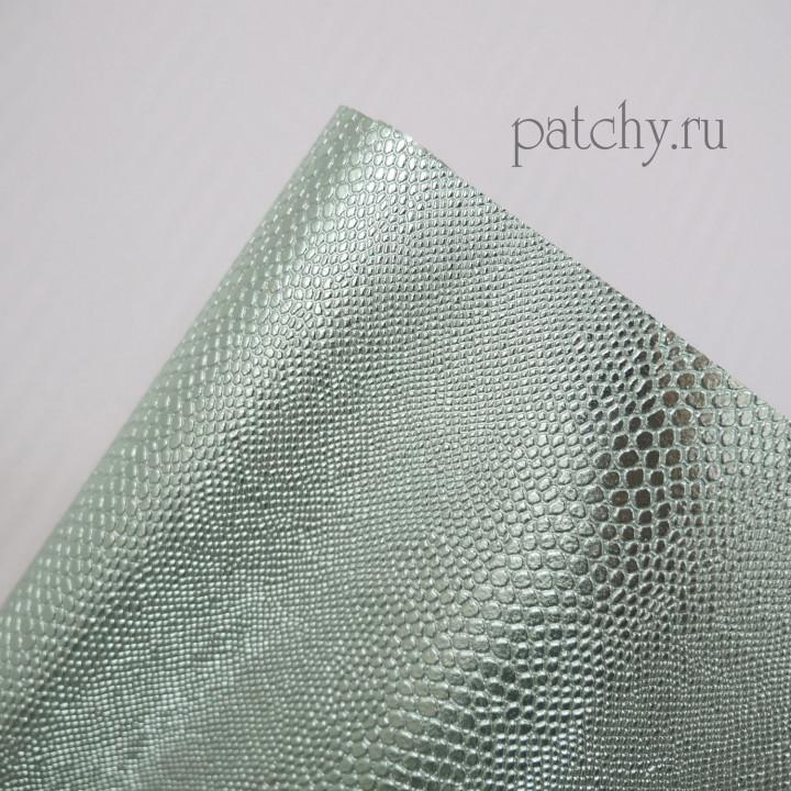 Кожзам металл змея светло зеленый 25 х 70 см