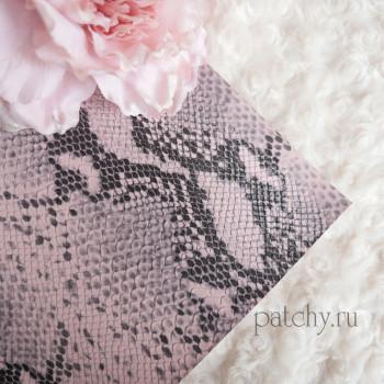 Кожзам питон двухцветный розовый и черный