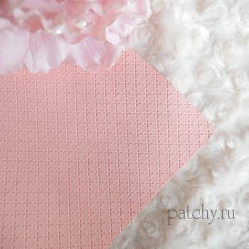 Кожзам в крестик розово-персиковый