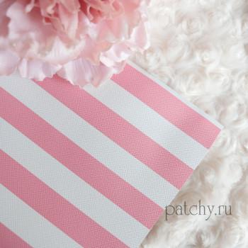 Кожзам в полоску розовый