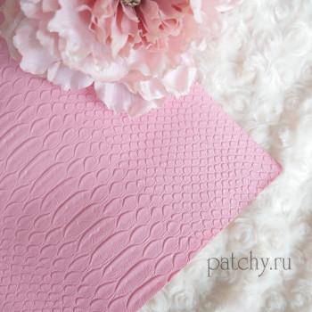 Кожзам под питона розовый