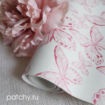Кожзам бабочки на розовом