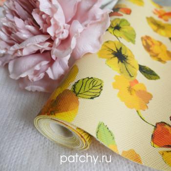 Кожзам цветы на желтом 21х140 см