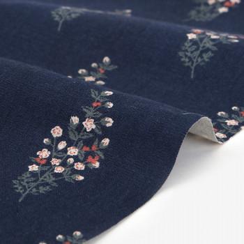 Ткань для пэчворка и скрапбукинга  лен 563 A moonlit garden flower tree (Лён)