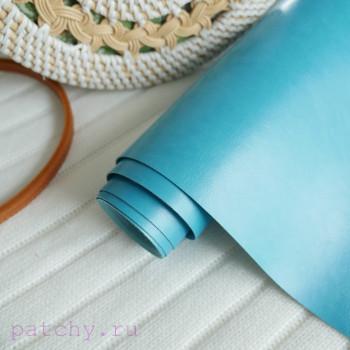 Переплетный кожзам Шевро озерно синий