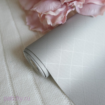 Кожзам шелковый ромб серый