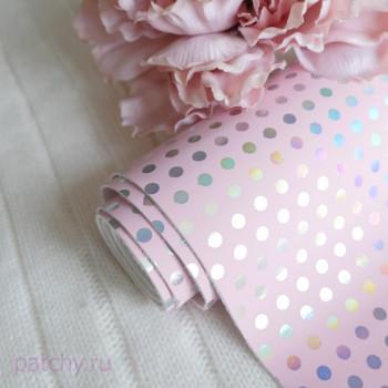 Кожзам горошек частый розовый 27х67см